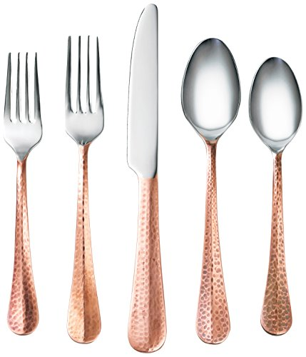 Cambridge Silversmiths 20 Piece Indira Jessamine Flatware Silverware Set, Stainless Steel, Service for 4, Includes Forks/Knives/Spoons, Copper Finish