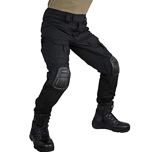 Men's Multicam Tactical Pants Multi-Pockets Military Camo Outdoor Airsoft Combat Hunting Pants with Knee Pads (Black, US X-Large=Tag 38)