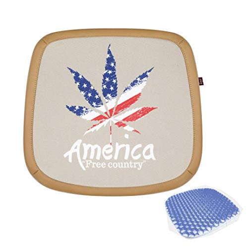 Car Seat Cushion Or for Wheelchair,Gel Seat Cushion Honeycomb Egg Crate Design Relieve Back and Relieving Sciatica Pain,Great As Office Chair Cushion,MapleLeafBeige