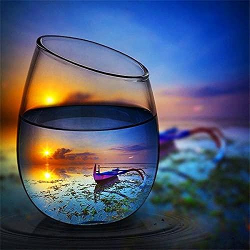 5D DIY diamante pintura puesta de sol botella de vidrio de vino kits para punto de cruz diamante bordado paisaje playa regalo hecho a mano A7 40x50cm
