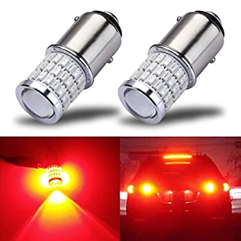 iBrightstar Newest 9-30V Super Bright Low Power 1157 2357 2057 7528 BAY15D LED Bulbs with Projector replacement for Stop Tail Brake Lights,Brilliant Red