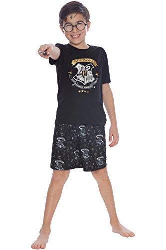 Harry Potter Boys' Little Hogwarts Wizard Crest Pajama Short Set, Black, 10/12