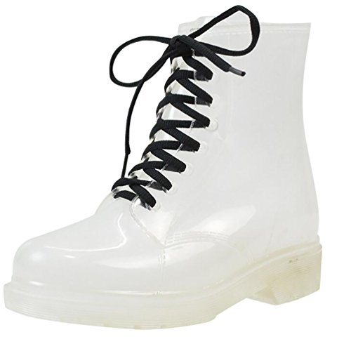 LvRao Damen Schnee Regen Schuhe Warm Transparente Stiefeletten Gefütterte Gummistiefel wasserdichte Kurze Stiefel mit Schnürsenkel Transparent Europäische Größe 39