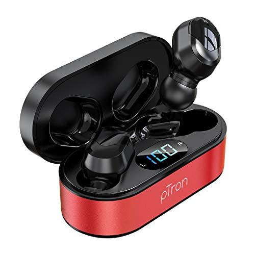 pTron Bassbuds Plus in-Ear True Wireless Stereo Headphones with Deep bass, Made in India Bluetooth Earphones with Voice Assistance, IPX4 Sweat & Water Resistant Earbuds with HD Mic - (Red & Black)