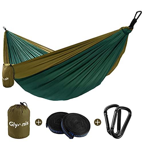 Glymnis Hamaca Ultraligera para Camping y Viaje de Nylon 300kg de Capacidad de Carga Ranspirable y Secado Rápido 275x140cm Kit de Hamaca de Tela 210T Marrón y Verde Oscuro
