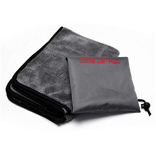 Core Detail® - Panno Asciugatura Auto, 2021 Nuova Microfibra Ritorta per Auto e Moto, Detailing Professionale, Ultra Assorbente, Ultra Delicato, Ideale per Carrozzeria e Vetri, 600 gsm, 60 x 40 Cm