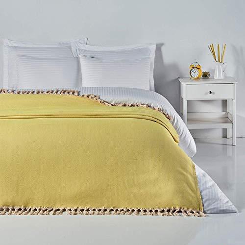 ElfRoutes Manta para sofá y cama – Manta muy grande (200 x 240 cm) – 100% algodón – Manta grande para cama doble – Manta para sofá grande de 3 plazas – Manta para sofás – Color Amarillo