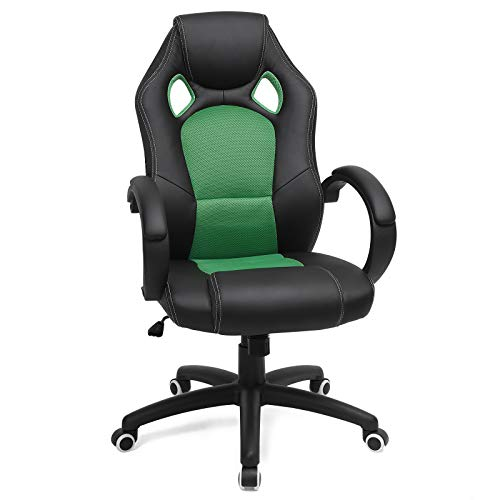 SONGMICS Racing Stuhl Bürostuhl Gaming Stuhl Chefsessel Drehstuhl PU, schwarz-grün, OBG56BJ