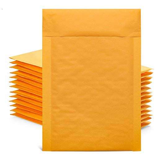 GSSUSA Kraft Bubble Mailers 4x8 Shipping Bags, Self-Seal Shipping Envelopes, Padded Envelopes, Package Bags, Mailing Bags, Packaging for Small Business, 50 Pack