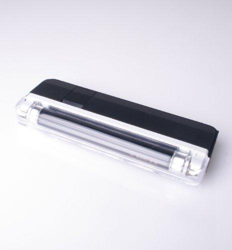 UV Handlampe 1 Schwarzlicht Röhre 365nm mit Trageschlaufe und Taschenlampe (ohne Batterien: 4x AA) - für UV Stempelfarbe, UV Leuchtfarbe, Schwarzlichtfarbe, Geldprüfgerät, Einlasskontrolle Diskotheken und Events, Banknoten, Hygienekontrolle (Urin), Fluoreszenz (langwellig) bei Mineralien und Fossilien, Briefmarken, Ausweise, Führerscheine, Passkontrolle, Dokumente mit UV Markierungen