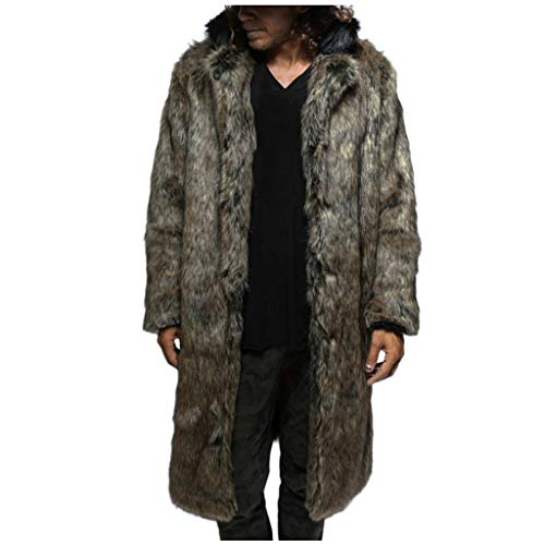 PLOT Herren Mantel Faux Fur Winter Warm Parka Pelzmantel Kunstfell Winterjacke Wintermantel Wolljacken Kunstpelz Warme Dicker Plüsch Trenchcoat
