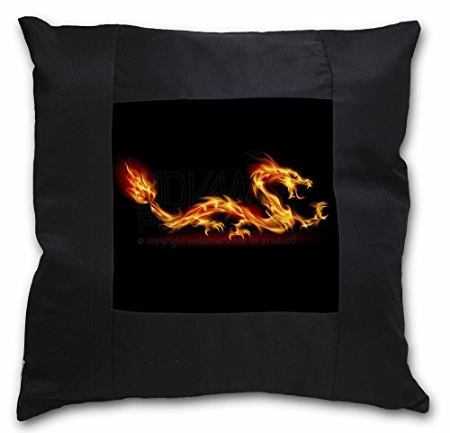 Advanta Atemberaubende Fire Flame Drache auf Schwarz Bordüre Satin Feel Kissenhülle mit Kissen, Polyester, Mehrfarbig, 36x 36x 12cm