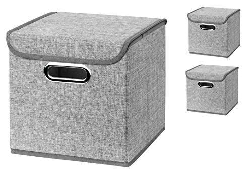 Stick&Shine 3X Aufbewahrungs Korb Hellgrau Faltbox 25 x 25 x 25 cm Regalkorb faltbar, mit Deckel
