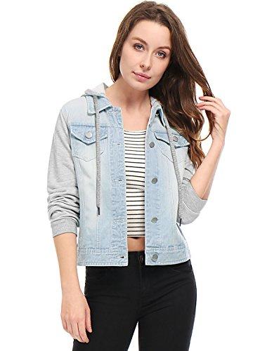 Allegra K Damen Langarm Button Panel Kapuze Jeansjacke Jacke Hellblau S