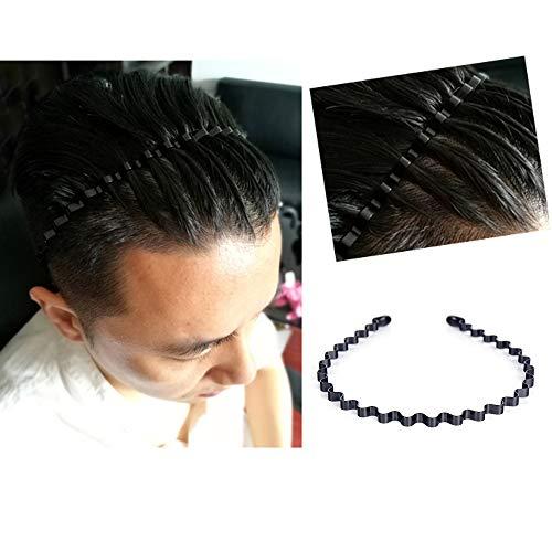 Männer Slicked Zurück Stirnband, Outdoor Sports Mode Zopf Haarband/Kein Gemälde-schälen Metall Kopf Schnalle Clip für Herren langes Haar, Braid und andere Frisuren - Kleine Welle