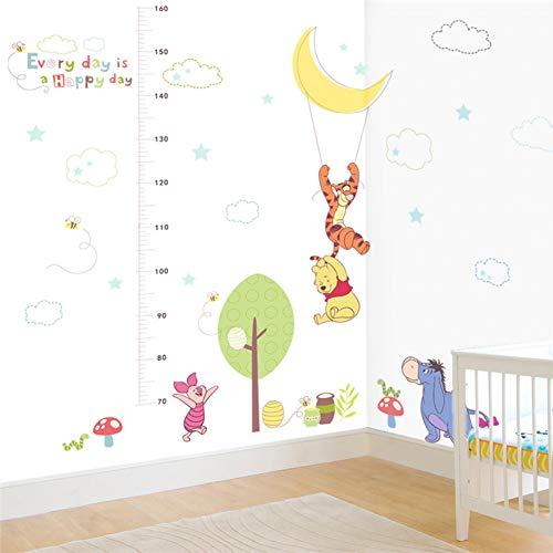 VIOYO Disney Winnie Pooh Croissance Graphique Stickers Muraux Chambre Décor À La Maison Animaux de Bande Dessinée Hauteur Mesurer Stickers Muraux PVC Murale Art
