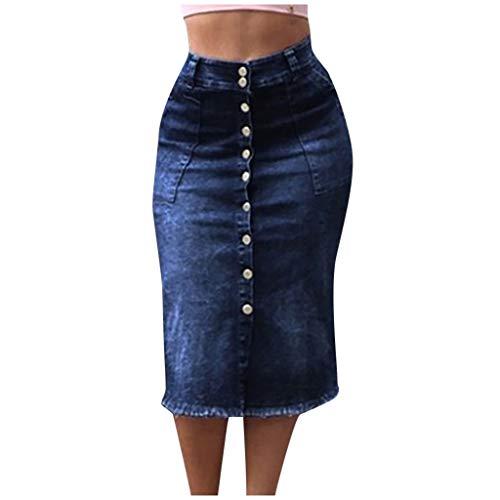 SHSH Jeans Minirock,Sexy Knopf Engen Jeansrock,Knielang Jeansrock,Hoher Taille Freizeit Rock, Bleistiftrock Freizeit Rock aus Stretch-Material,Damen Kurzer Mini-Rock mit Tasche