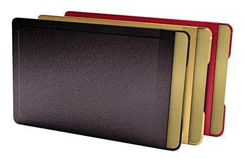 CardTresor Color Kartenschutzhülle aus Edelstahl, 3er-Set farbig, schwarz, rot, gold, RFID/NFC-Schutz