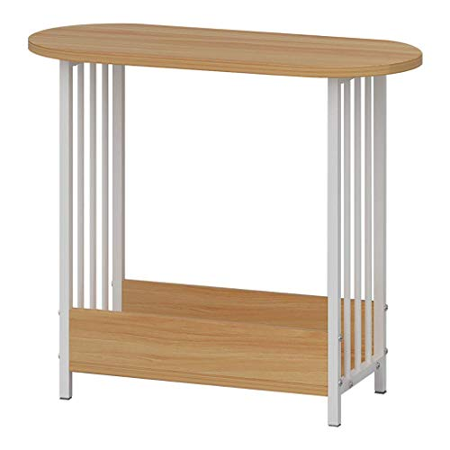 Beistelltische Nachttische Satztische Startseite D & eacute; cor Produkte Schmaler Stuhl mit Lagerregal mit Metallrahmen Platzsparendes Holz Look for Bedroom Night Stand Bedside