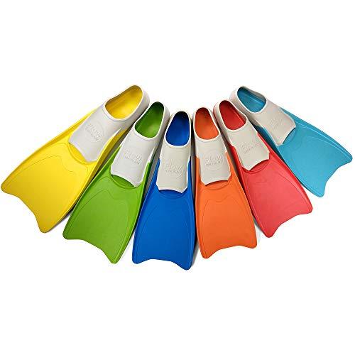Flow Long Swim Fins for Swimming Training - Youth Sizes for Kids (XXXXS 10-12 (Aqua))