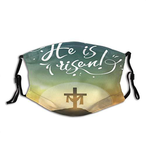 Carátula de Pascua con Texto He is Risen Sol Naciente y la Cruz Unisex Algodón Lavable y Reutilizable Decoración Facial cálida para Exteriores