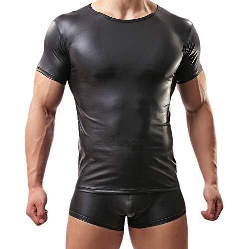 Sking Herren Tank Top Lackleder T-Shirt Kurzarm schwarz Wetlook Top Achselhemd Unterhemd Fitness Slim Fit M L XL XXL (XL)