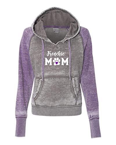 Women's Frenchie Mom Dog Mom Zen Hooded Sweatshirt Hoodie-Cement/Very Berry-xl