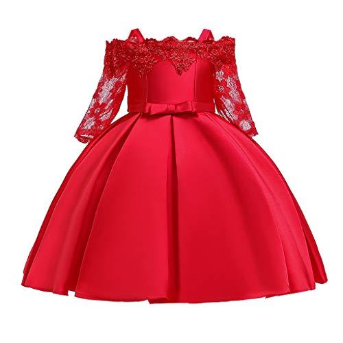 ASHOP - Vestido de Encaje para niña o niña, Vestido de Princesa o Fiesta de Boda, Vestido Floral, Dama de Honor, Falda Vestida de Manga Larga, Estampado de Malla Rojo 120 cm