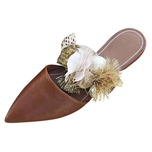 Fantastic Deal! Corriee Womens Closed Toe Slip On Mules Shoes Bohemian Pointed Toe Sandals Summer Fl...