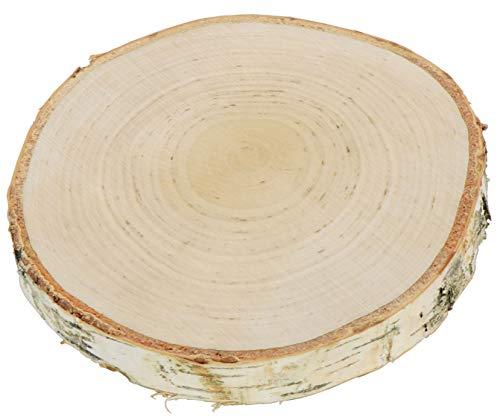 LAUBLUST Baumscheibe mit Rinde - Birkenholz Unbehandelt, ca. 18cm | Deko Hochzeit & Jubiläum | Holzscheibe zum Basteln