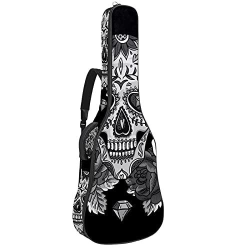 Calavera blanca y negra, funda para guitarra eléctrica gruesa bolsa suave acolchada...