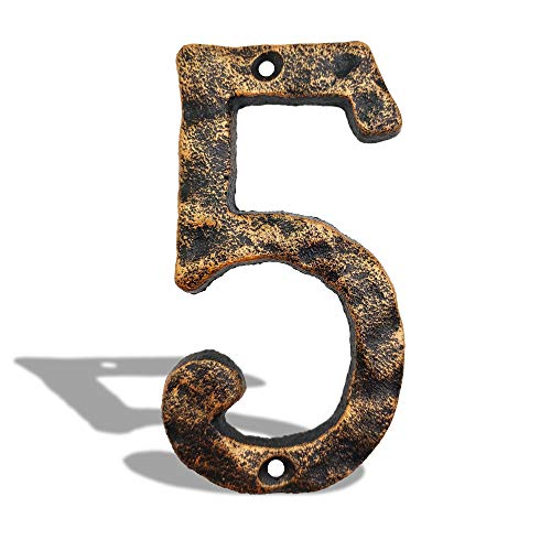 5.5 Inch House Address Numbers- Solid Cast Iron Metal Door Gate Number- Unique Hammer Appearance with Individual Irregular Handcraft Antique Brass Finish, Number 5