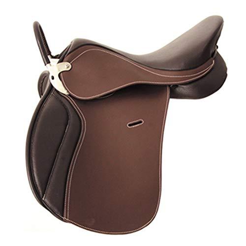 TNNT Sattel für Reitsport Reitsattel Ponysattel Westernsattel Pferdeausrüstung Geschirr Multifunktionssattel Reitbedarf Premium Leder langlebig massiv dunkelbraun