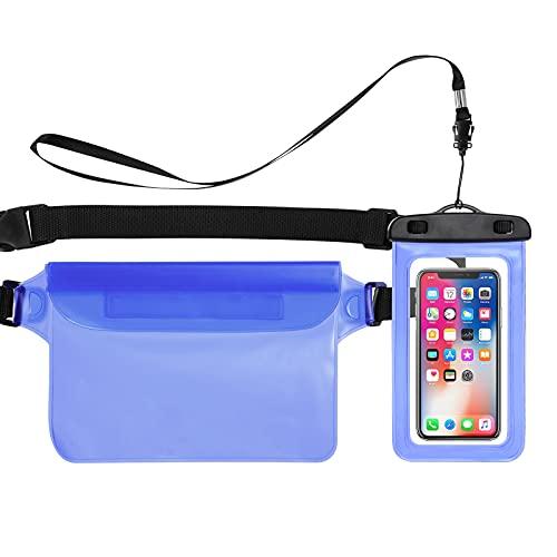 Bigqin Estuche Impermeable para teléfono móvil, Paquete de 2 Bolsas de Cintura Seca para teléfono móvil Compatible con el Modelo de teléfono de 6.5 Pulgadas, Azul + Azul