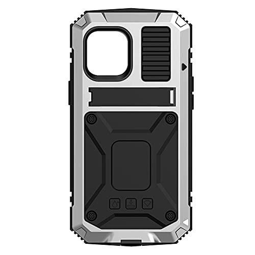 Hainice Impermeable Universal Caja Protectora de la Caja de absorción de Choque con el Soporte de Aluminio a Prueba de Polvo de Metal Cubierta de teléfono Plata Prestar Ayuda