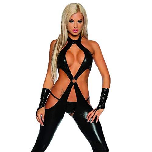 Shhyy Body de Cuero Abierto Mujer Sexy Conjunto de Lencera Disfraz Erotica Tanga Entrepierna Abierta con Ligas Babydoll Pijamas Bodysuit Clubwear Negro,L