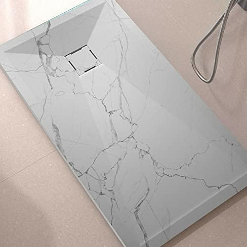 Plato de ducha de mineral fundido con aspecto de mármol, plano y macizo, varios tamaños (90 x 130 x 3)