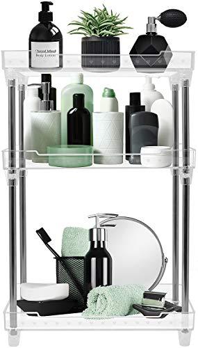 Sorbus 3-Tier Organizer Shelf Stand, Clear Storage Tray Caddy for Cosmetics, Bathroom/Kitchen Supplies,Toiletries, Counter, Vanity, Desk, Under Sink Organization