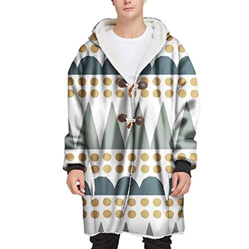 JJZXD Manta con Capucha para Adultos pulóver pulóver cálido Bolsillo de Felpa TV Abrigo de Felpa Estampado Mangas Manta con Capucha (Color : A, Size : Medium)