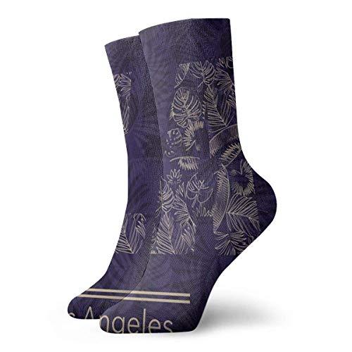 wwoman Novedad Divertido Crazy Crew Sock Losangeles Palm Leaves Impreso Sport Calcetines deportivos 30cm de largo Calcetines personalizados de regalo