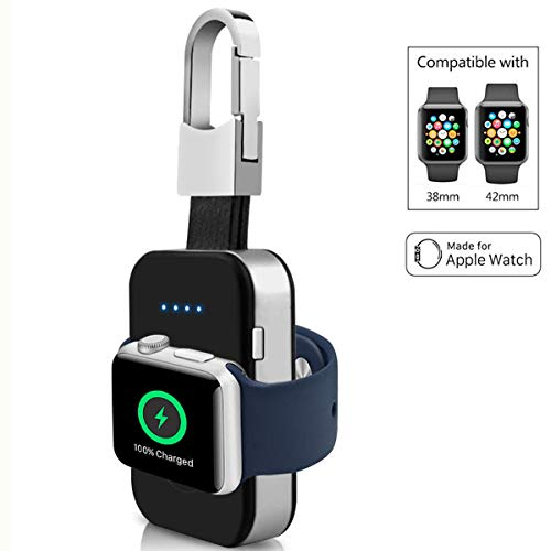 portatile senza fili Apple Watch magnetico caricabatterie tascabile portachiavi integrato BECROWMEU Power Bank per iWatch, compatibile con Apple Watch Series 3, 2, 1