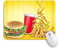 MISCERY マウスパッド ハンバーガーファーストフードドリンクフライドポテトトマトソース 高級感 おしゃれ 防水 端ステッチ 耐久性が良い 滑らかな表面 滑り止めゴム底 24cmx20cm