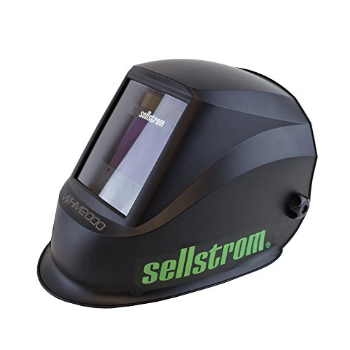 Sellstrom Welding Helmet, S26200 - Advantage Plus Series with ADF, Lightweight, Ergonomic, Nylon Shell, Blue Lens Technology, Weld and Grind Modes, Black and Green