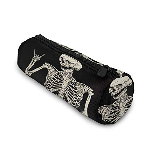 Rock and Roll Skeleton Skull Boho Hippie Cylinder Pencil Case Holder Zipper Pen Bag Pouch Students Stationery Cosmetic Bag