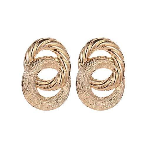 Pendientes bohemios para mujer de 4,5 cm de oro, estilo vintage, de moda, bohemio, para mujer, con geometría cruzada, bucles de metal, bohemios, para mujer, 4.5CM, Zinc,