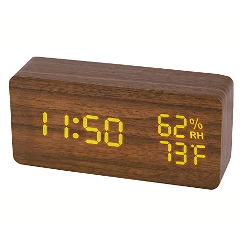JCHORNOR Wood Digital Alarm Clock, Led Time Display Wooden Digital Desk Clock with 6 Level Warm Brightness, Temperature, Humidity Electric Clock with USB Cable for Bedrooms, Office, Kid Room-Brown