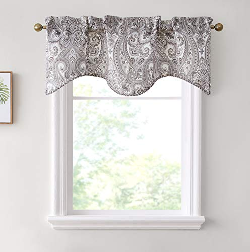 HLC.ME Paris Paisley Thermal Insulated Blackout Decorative Rod Pocket Short Scalloped Curtain Valance for Kitchen, Bathroom, Basement and Small Windows (50 W x 20 L Inch, Taupe)