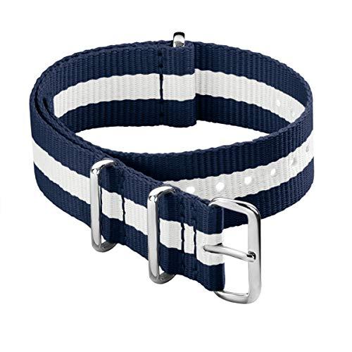 Archer Watch Straps - Klassische NATO-Nylon-Armbänder - Uhrenarmband (Marineblau/Weiß, 22mm)