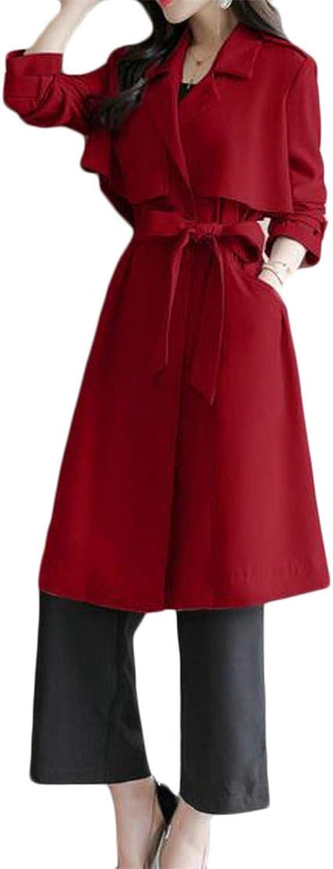 Pandapang Womens Pocket Long Sleeve Poncho Lapel Neck Belt Classic Jacket Trenchcoats