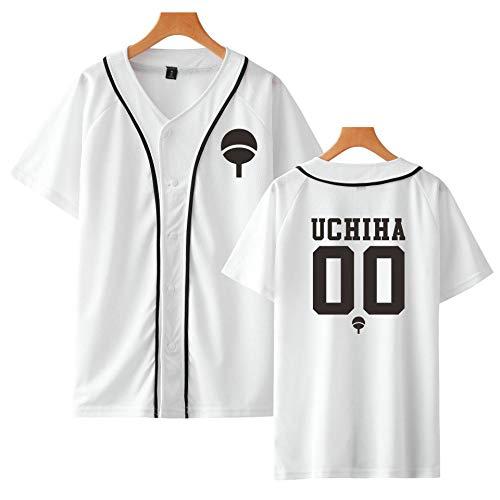HNOSD Neue Anime Design Naruto Baseball Shirt Kurzarm Baseball Jacke Uchiha Hatake Uzumaki Clan Abzeichen Print Shirts Unisex Kleidung